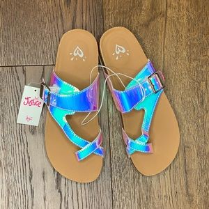Justice Girl's holographic Sandals size 6